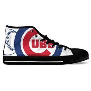 31e5bfece00 ... Chicago Cubs Baseball Fan High Top Canvas Shoes ...